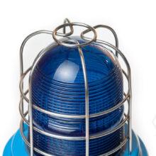 XB15-nevýbušný-zábleskový-xenonový-maják-MEDC-Exd-modré-stínítko-barva-těla-modrá-drátěný chránič stínítka