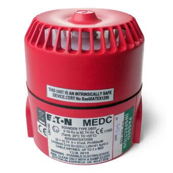 DB51 jiskrově bezpečná siréna EATON MEDC, Exia, 12 Vdc, 103dB, červená, do zóny 0, 1, 2, certifikační štítek, DB5B012NR, PX805001